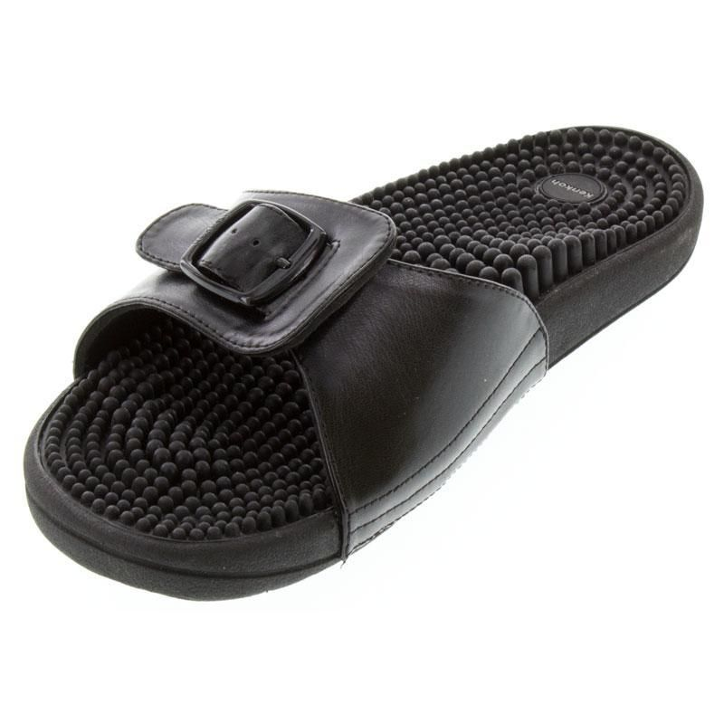 Kenkoh Chai Black Massage Sandal left front view