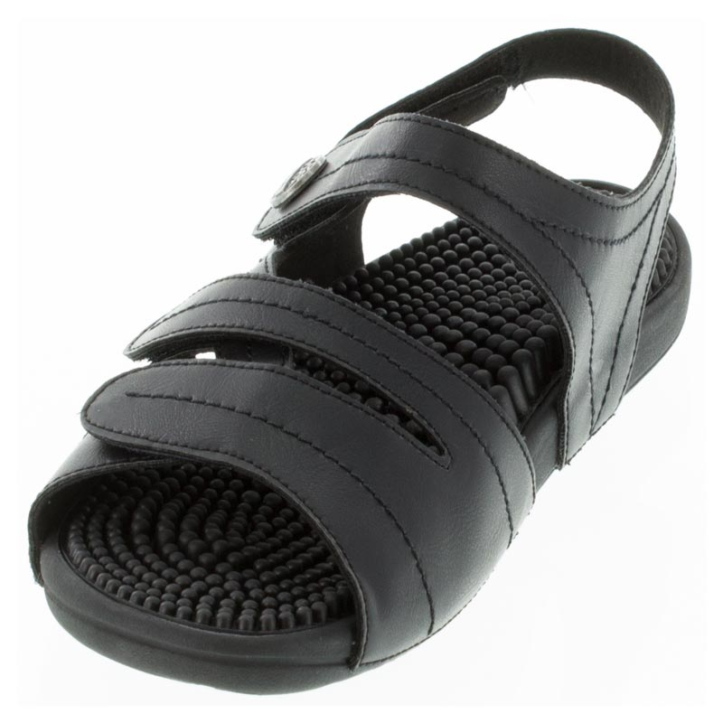 Kenkoh Essence Black Massage Sandal left front view