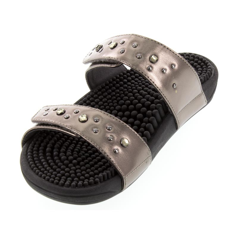 Kenkoh Lotus Pewter Massage Sandal left front view