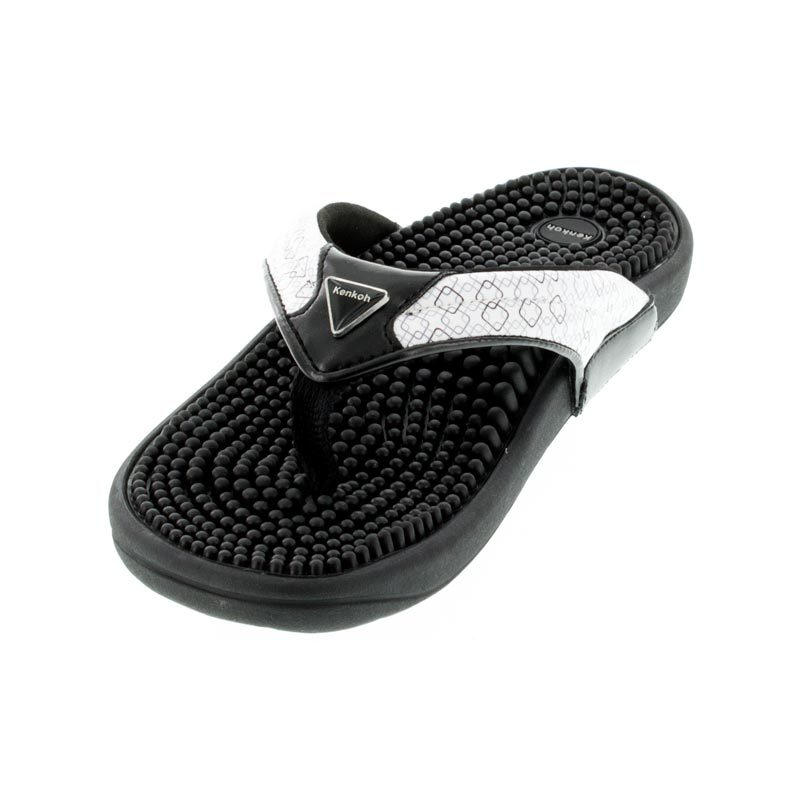 Kenkoh Spirit Black/White Geo Massage Sandal left front view