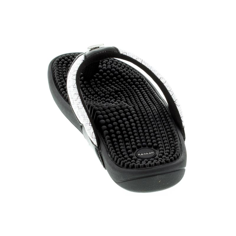 Kenkoh Spirit Black/White Geo Massage Sandal back view