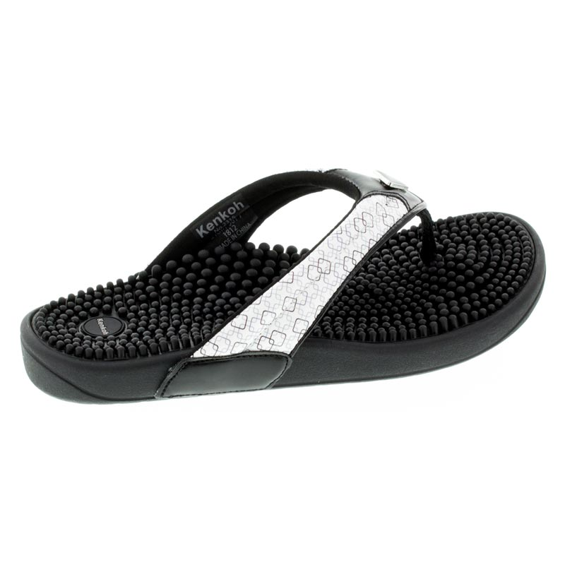 Kenkoh Spirit Black/White Geo Massage Sandal right side view