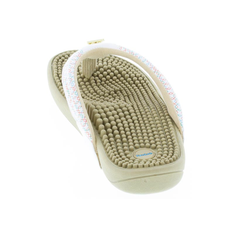 dc4398f49302 Womens Kenkoh Spirit Multi Geo Massage Sandal - Happyfeet.Com