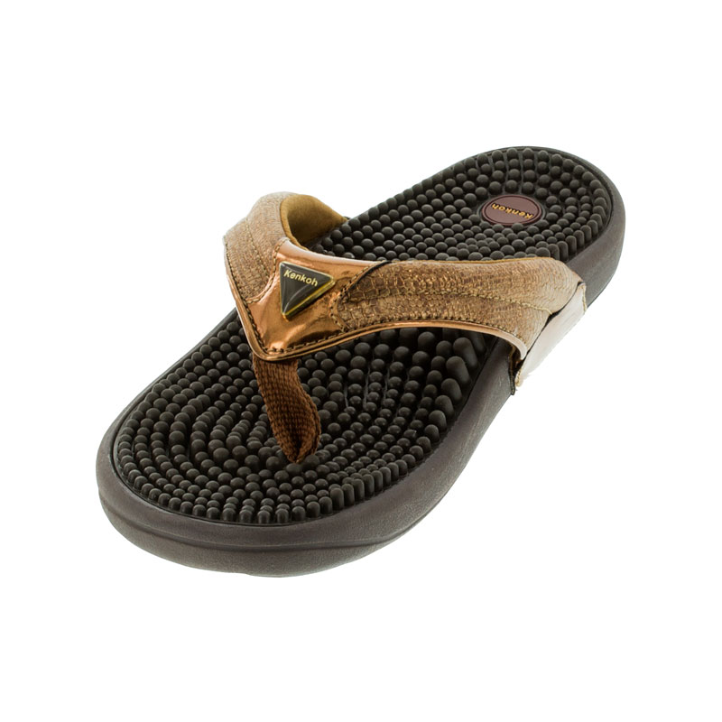 Kenkoh Spirit Bronze Metallic Massage Sandal left front view