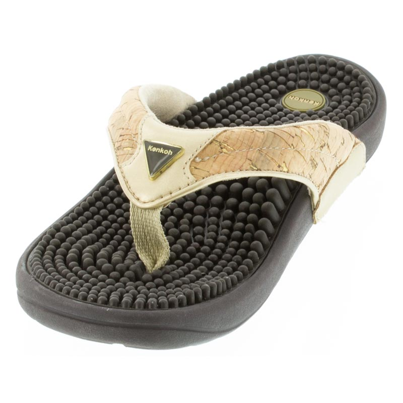 Kenkoh Spirit Cork Metallic Massage Sandal left front view