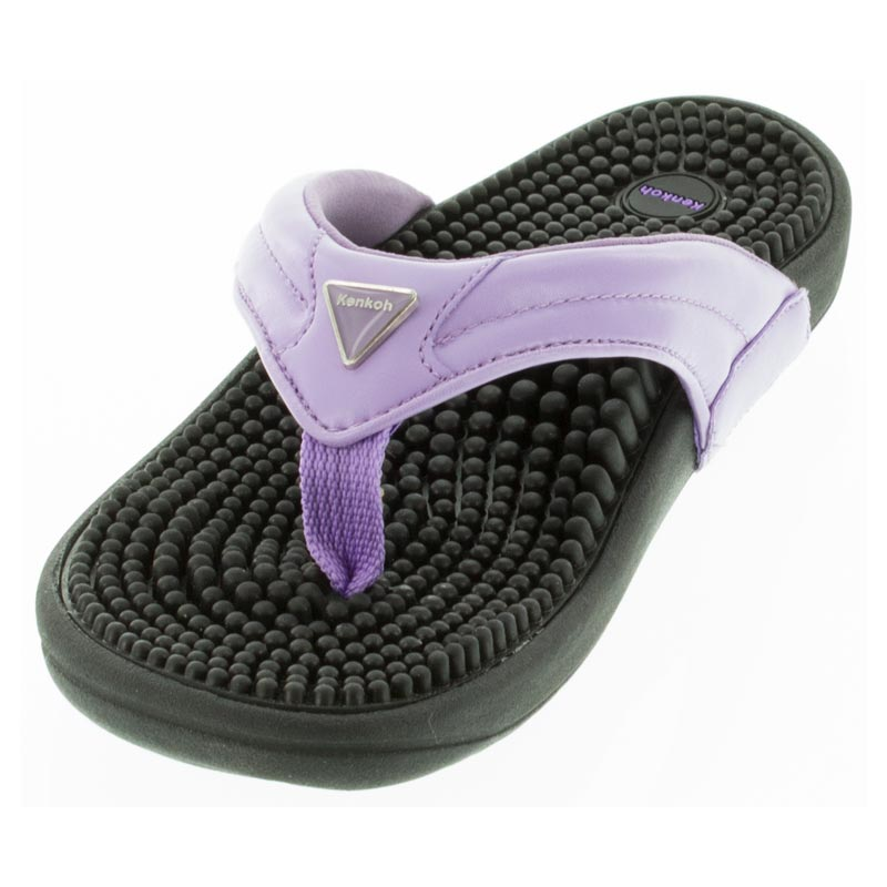 Kenkoh Spirit Lavender Massage Sandal left front view