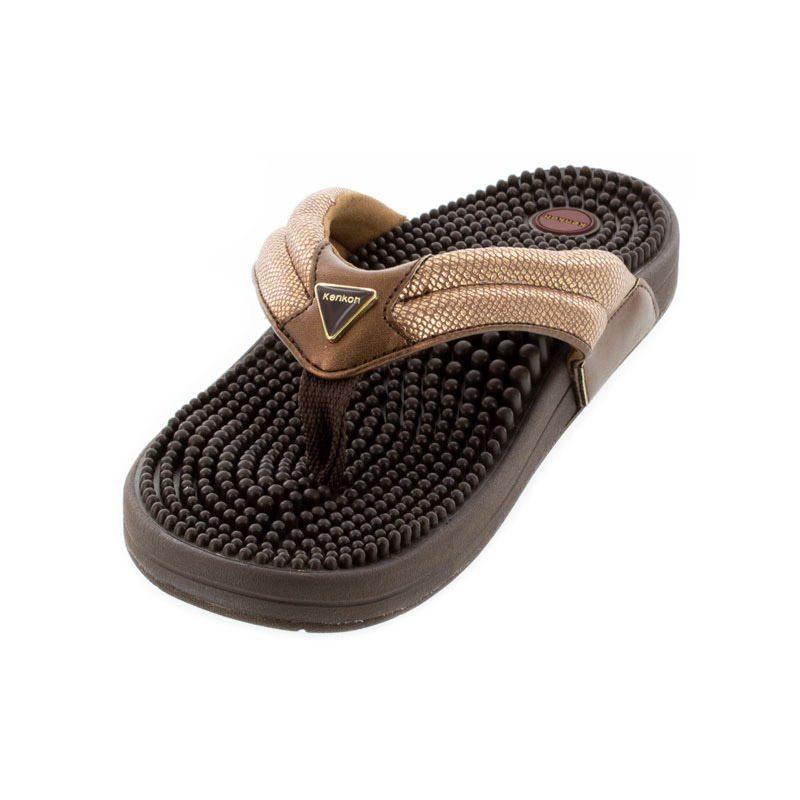 Kenkoh Spirit V Bronze Metallic Massage Sandal left front view