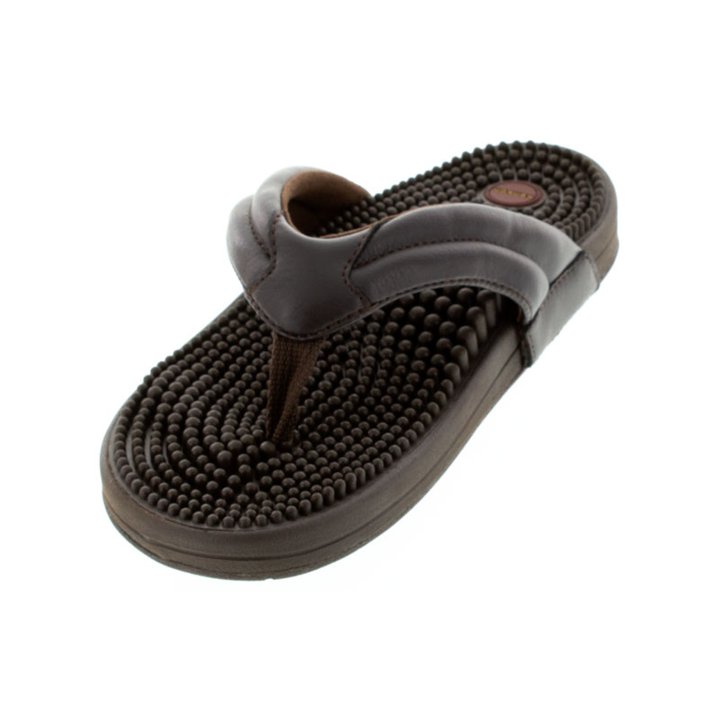 Kenkoh Spirit V Brown Massage Sandal left front view