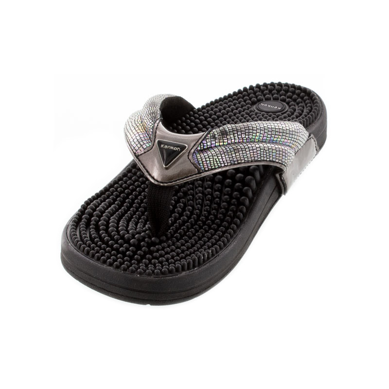 Kenkoh Spirit V Silver Metallic Massage Sandal left front view