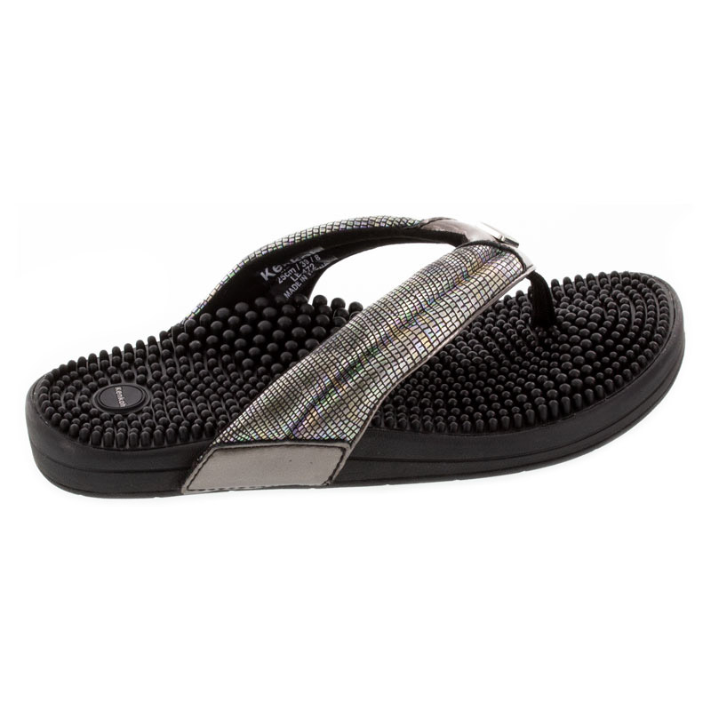 Kenkoh Spirit V Silver Metallic Massage Sandal right side view