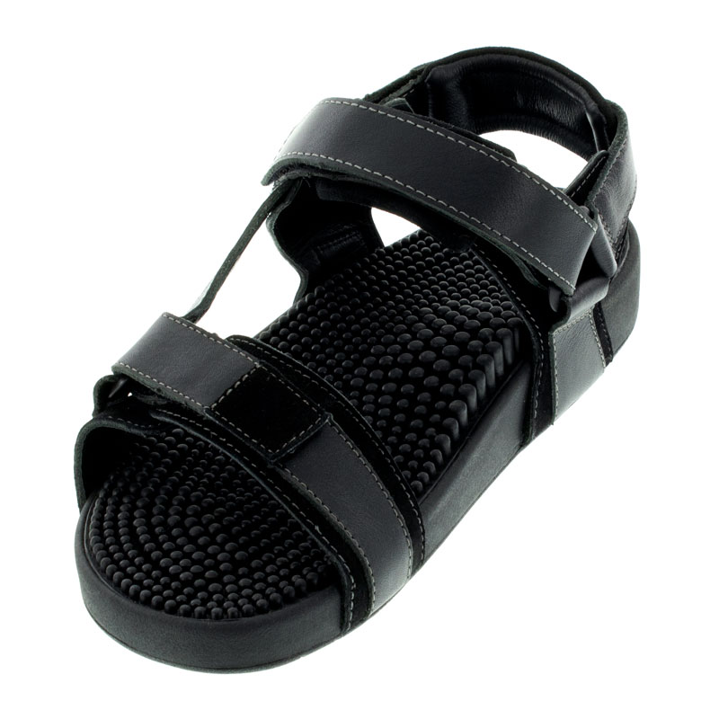 Kenkoh Sport Back Strap Black Leather Massage Sandal left front view