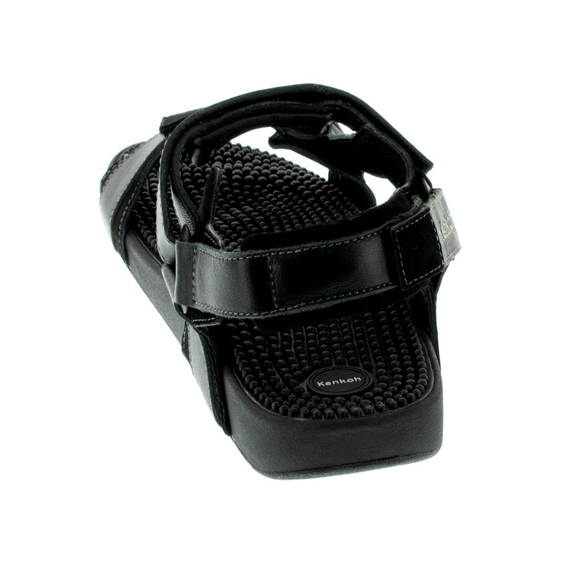 Kenkoh Sport Back Strap Black Leather Massage Sandal back view